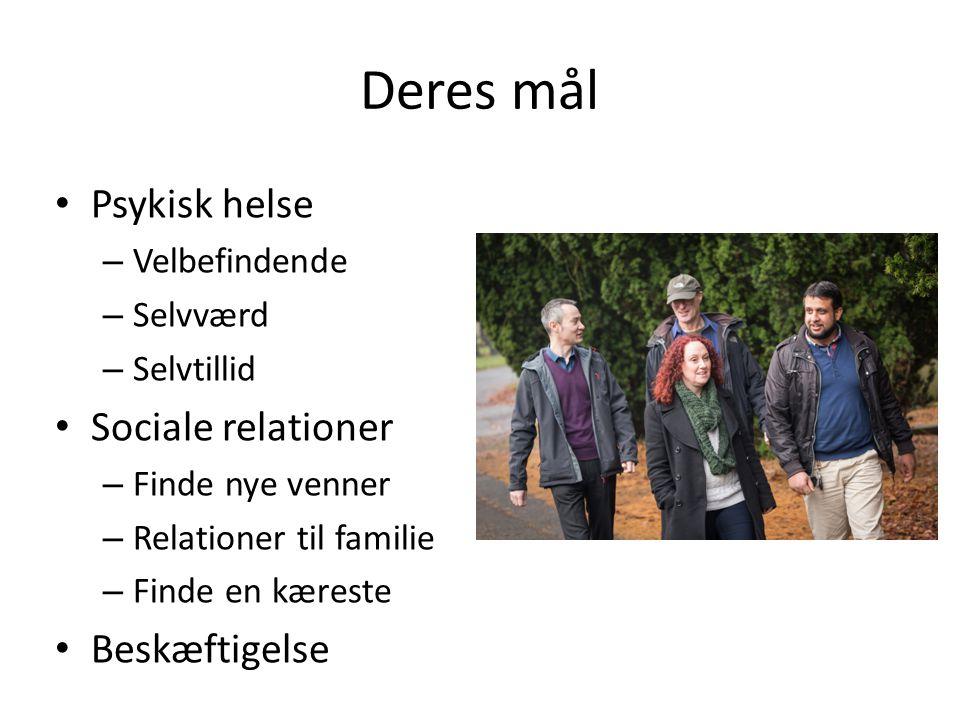 Deres mål • Psykisk helse – Velbefindende – Selvværd – Selvtillid • Sociale relationer – Finde nye venner – Relationer til familie – Finde en kæreste • Beskæftigelse