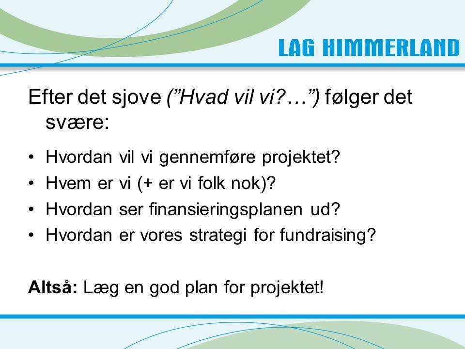 Efter det sjove ( Hvad vil vi?… ) følger det svære: •Hvordan vil vi gennemføre projektet.