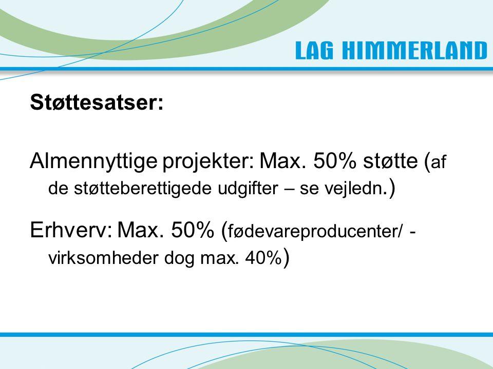 Støttesatser: Almennyttige projekter: Max.