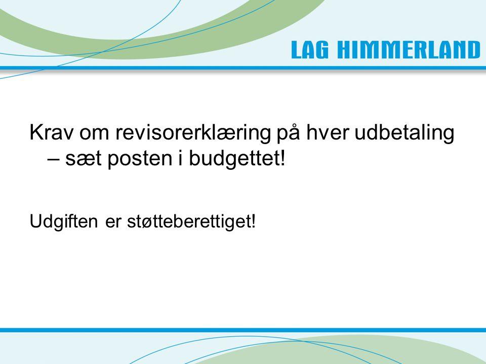Krav om revisorerklæring på hver udbetaling – sæt posten i budgettet! Udgiften er støtteberettiget!