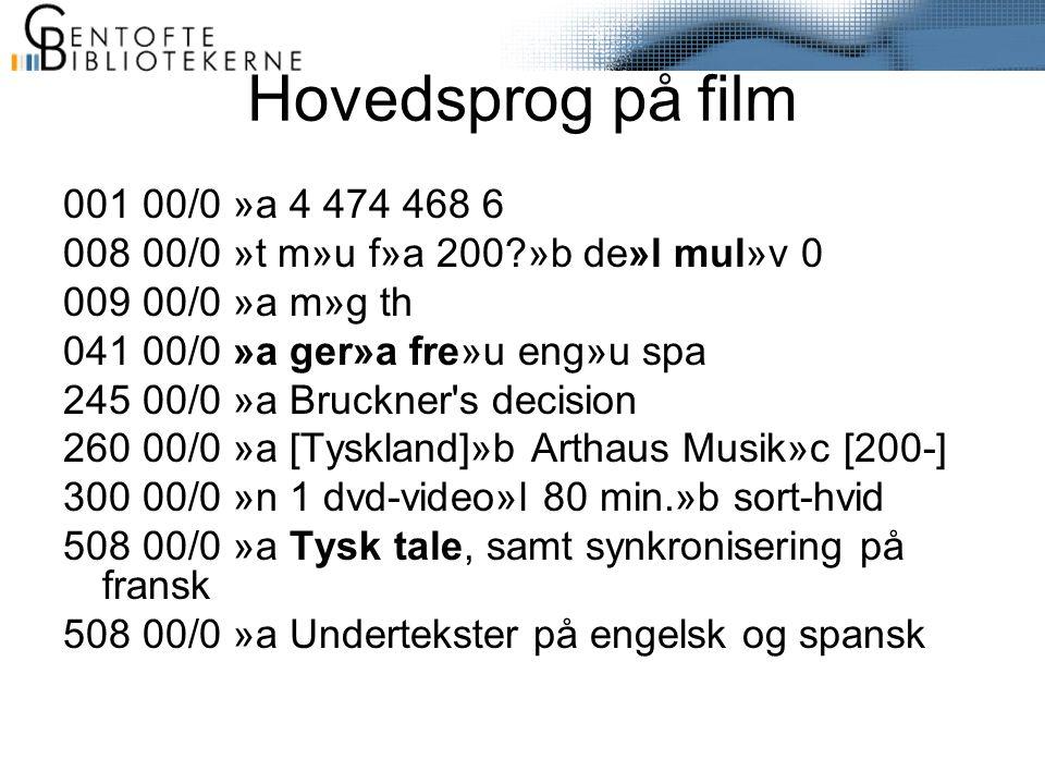 Hovedsprog på film 001 00/0 »a 4 474 468 6 008 00/0 »t m»u f»a 200 »b de»l mul»v 0 009 00/0 »a m»g th 041 00/0 »a ger»a fre»u eng»u spa 245 00/0 »a Bruckner s decision 260 00/0 »a [Tyskland]»b Arthaus Musik»c [200-] 300 00/0 »n 1 dvd-video»l 80 min.»b sort-hvid 508 00/0 »a Tysk tale, samt synkronisering på fransk 508 00/0 »a Undertekster på engelsk og spansk