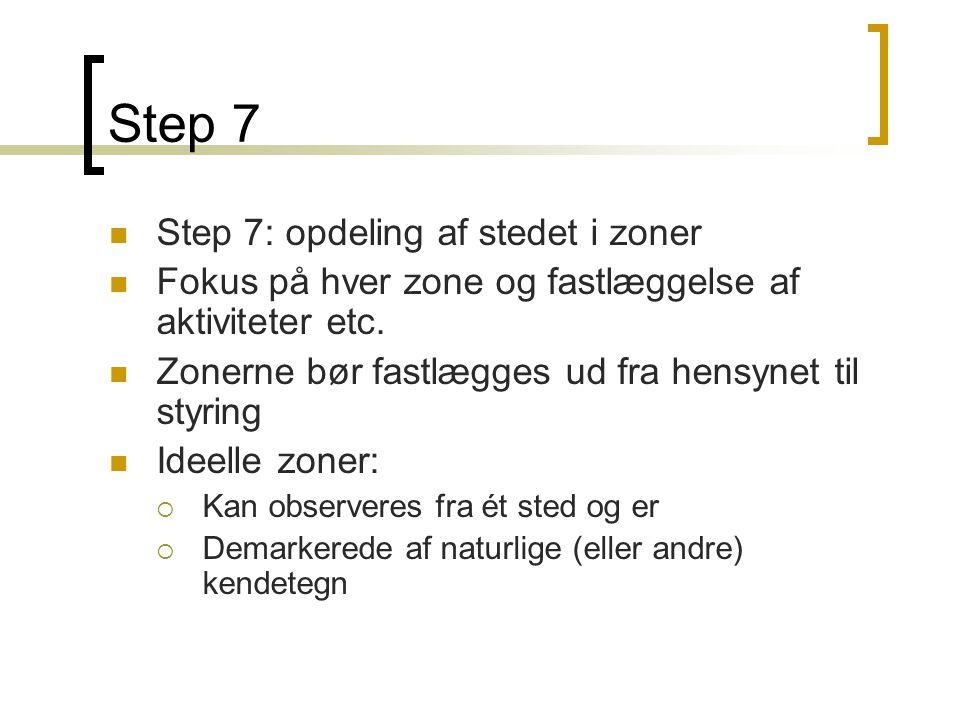 Step 7  Step 7: opdeling af stedet i zoner  Fokus på hver zone og fastlæggelse af aktiviteter etc.