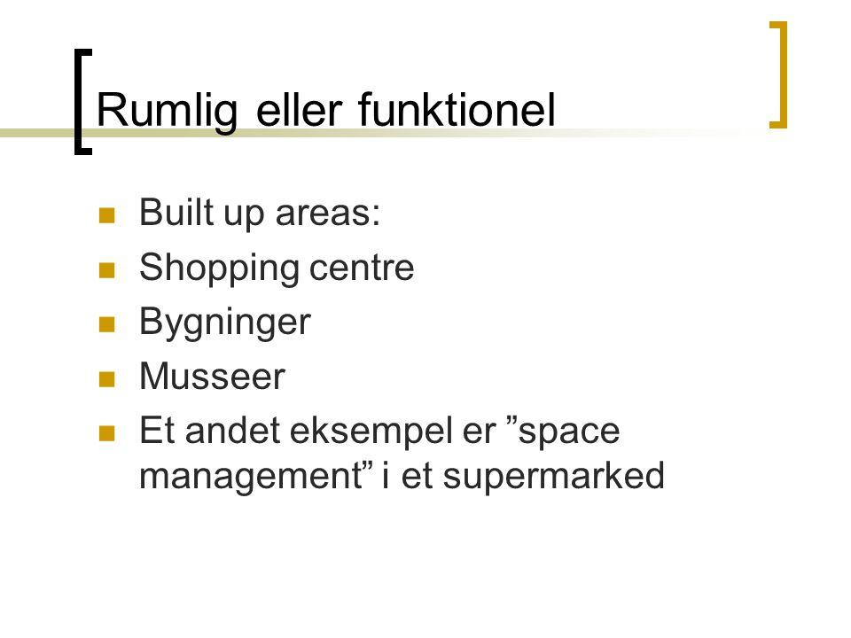 Rumlig eller funktionel  Built up areas:  Shopping centre  Bygninger  Musseer  Et andet eksempel er space management i et supermarked