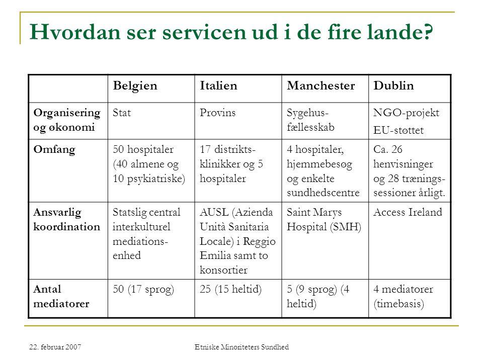 22. februar 2007 Etniske Minoriteters Sundhed Hvordan ser servicen ud i de fire lande.