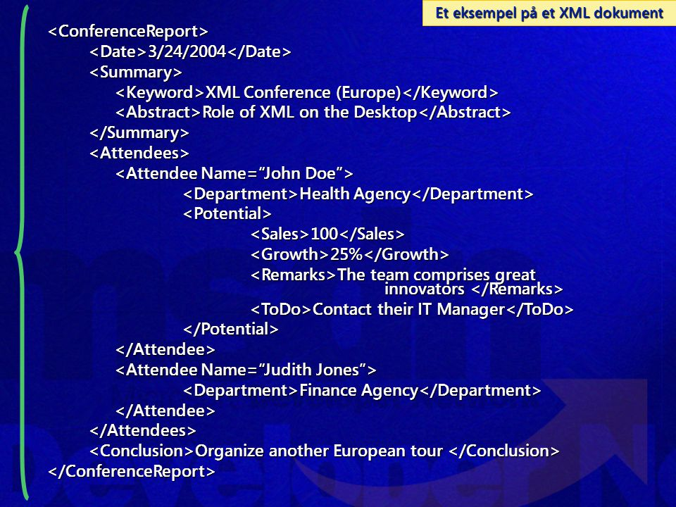 Et eksempel på et XML dokument <ConferenceReport><Date>3/24/2004</Date><Summary> XML Conference (Europe) XML Conference (Europe) Role of XML on the Desktop Role of XML on the Desktop </Summary><Attendees> Health Agency Health Agency <Potential><Sales>100</Sales><Growth>25%</Growth> The team comprises great innovators The team comprises great innovators Contact their IT Manager Contact their IT Manager </Potential></Attendee> Finance Agency Finance Agency </Attendee></Attendees> Organize another European tour Organize another European tour </ConferenceReport>
