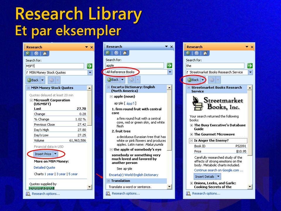 Research Library Et par eksempler