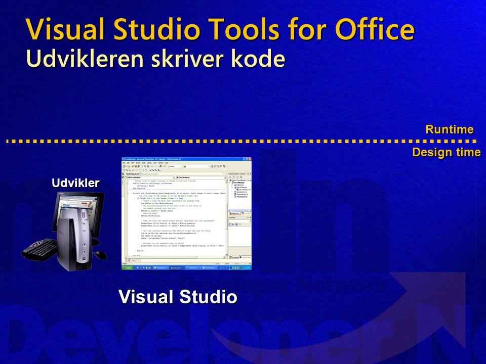Visual Studio Tools for Office Udvikleren skriver kode Runtime Design time Udvikler Visual Studio