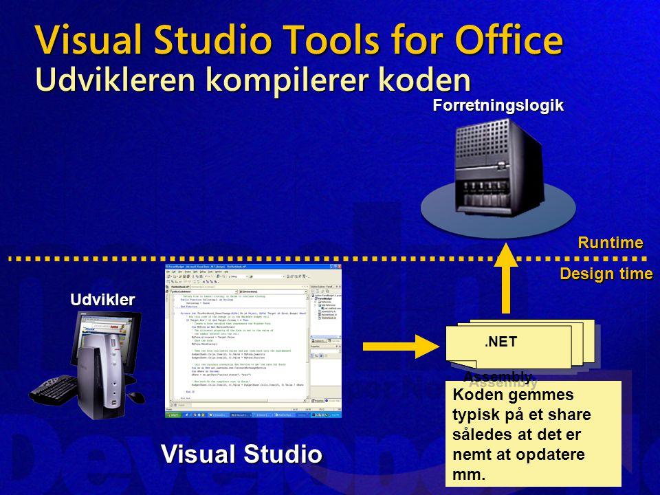Visual Studio Tools for Office Udvikleren kompilerer koden Runtime Design time ForretningslogikUdvikler Koden gemmes typisk på et share således at det er nemt at opdatere mm..
