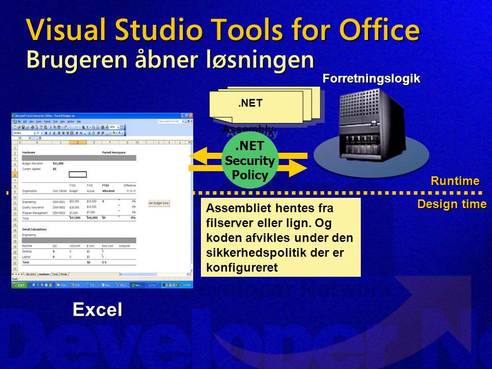 Visual Studio Tools for Office Brugeren åbner løsningen Runtime Design time Excel Assembliet hentes fra filserver eller lign.