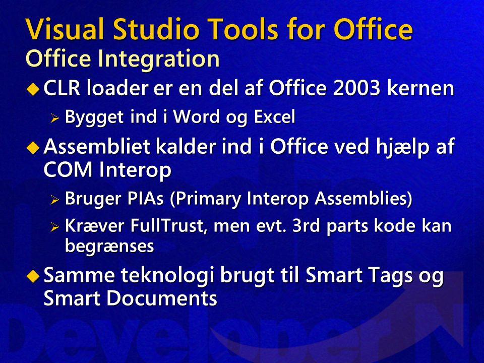 Visual Studio Tools for Office Office Integration  CLR loader er en del af Office 2003 kernen  Bygget ind i Word og Excel  Assembliet kalder ind i Office ved hjælp af COM Interop  Bruger PIAs (Primary Interop Assemblies)  Kræver FullTrust, men evt.