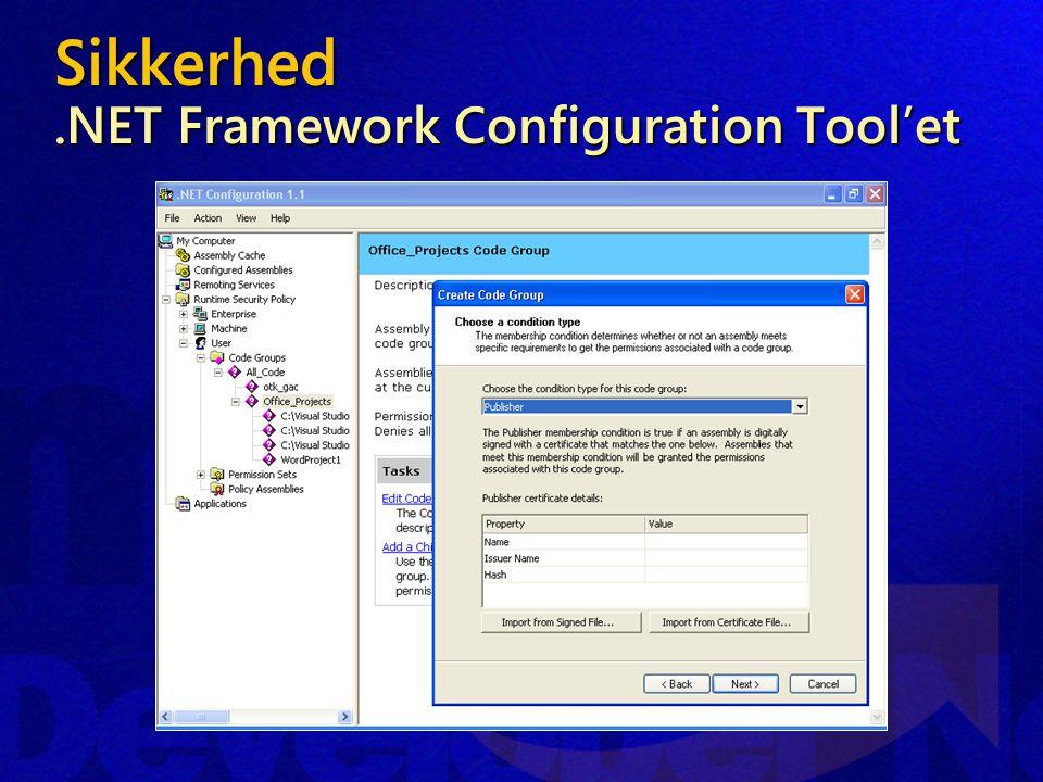 Sikkerhed.NET Framework Configuration Tool'et