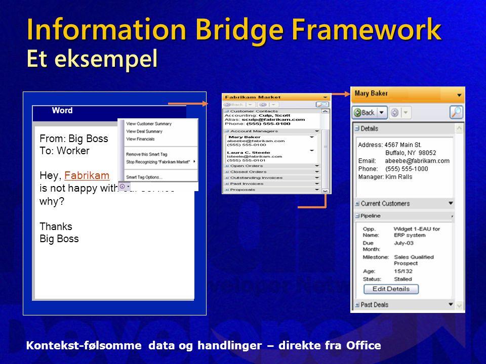 Information Bridge Framework Et eksempel Kontekst-følsomme data og handlinger – direkte fra Office Word From: Big Boss To: Worker Hey, Hey, Fabrikam is not happy with our service why.