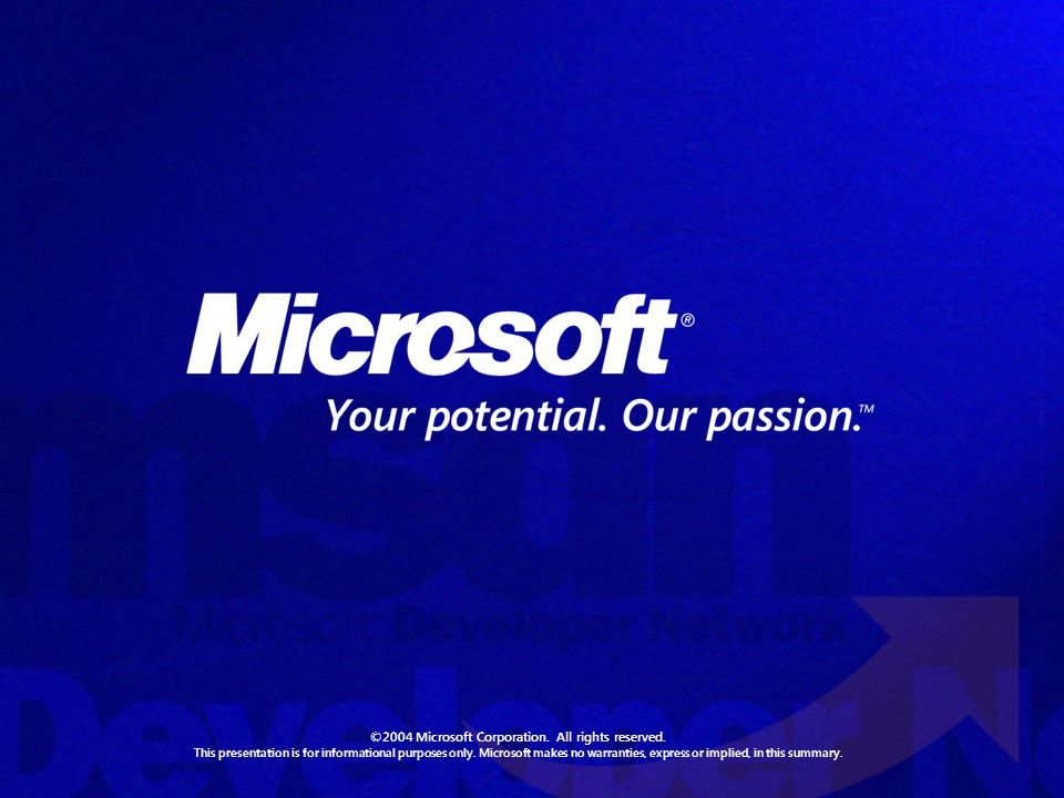 ©2004 Microsoft Corporation. All rights reserved.