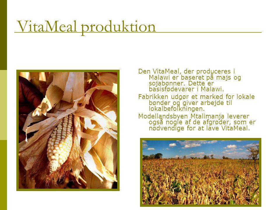 Den VitaMeal, der produceres i Malawi er baseret på majs og sojabønner.