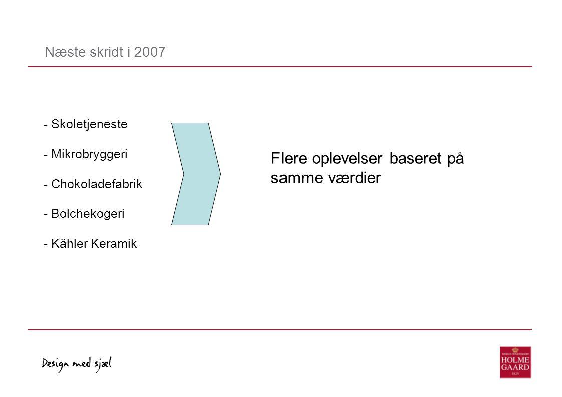 Næste skridt i 2007 - Skoletjeneste - Mikrobryggeri - Chokoladefabrik - Bolchekogeri - Kähler Keramik Flere oplevelser baseret på samme værdier