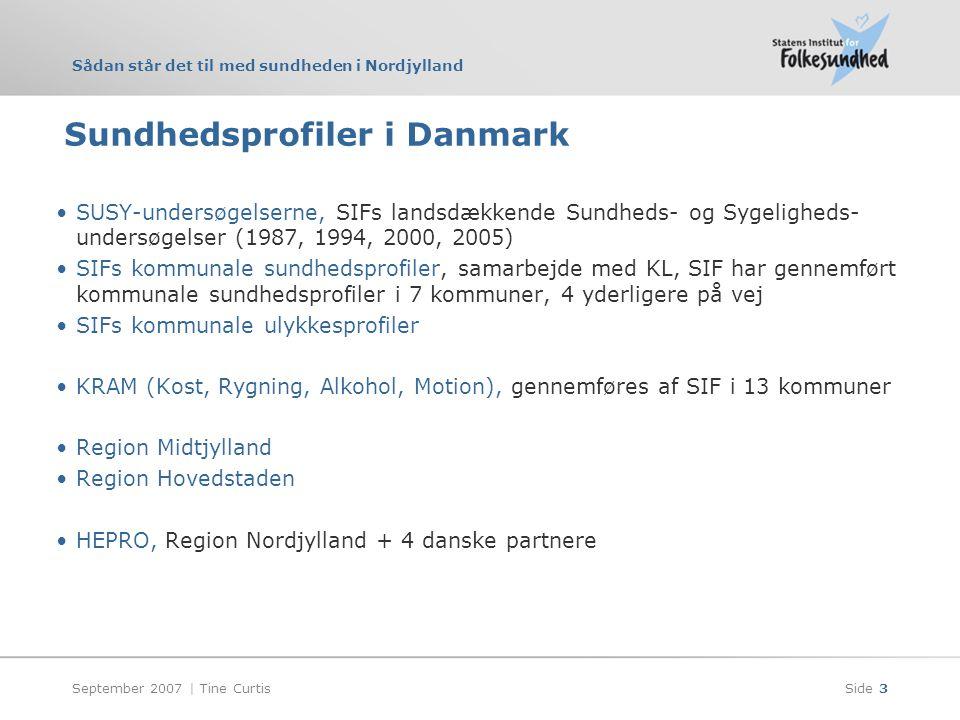 Sådan står det til med sundheden i Nordjylland September 2007 | Tine CurtisSide 3 Sundhedsprofiler i Danmark •SUSY-undersøgelserne, SIFs landsdækkende Sundheds- og Sygeligheds- undersøgelser (1987, 1994, 2000, 2005) •SIFs kommunale sundhedsprofiler, samarbejde med KL, SIF har gennemført kommunale sundhedsprofiler i 7 kommuner, 4 yderligere på vej •SIFs kommunale ulykkesprofiler •KRAM (Kost, Rygning, Alkohol, Motion), gennemføres af SIF i 13 kommuner •Region Midtjylland •Region Hovedstaden •HEPRO, Region Nordjylland + 4 danske partnere