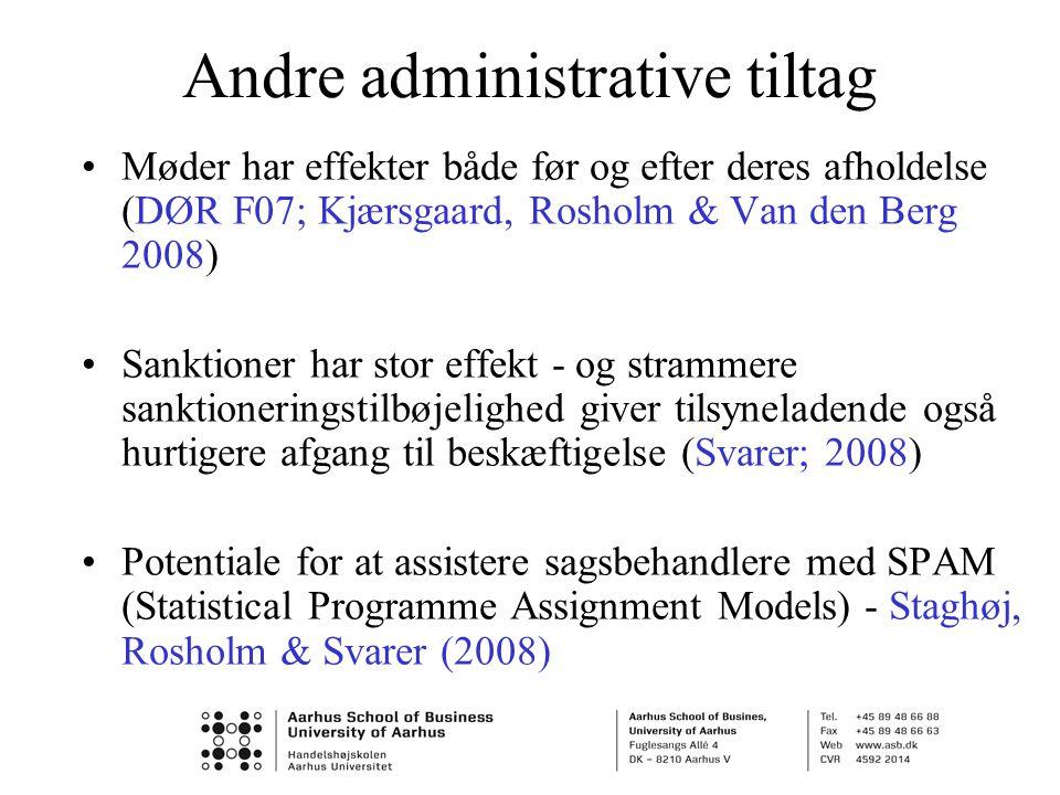 Andre administrative tiltag •Møder har effekter både før og efter deres afholdelse (DØR F07; Kjærsgaard, Rosholm & Van den Berg 2008) •Sanktioner har stor effekt - og strammere sanktioneringstilbøjelighed giver tilsyneladende også hurtigere afgang til beskæftigelse (Svarer; 2008) •Potentiale for at assistere sagsbehandlere med SPAM (Statistical Programme Assignment Models) - Staghøj, Rosholm & Svarer (2008)