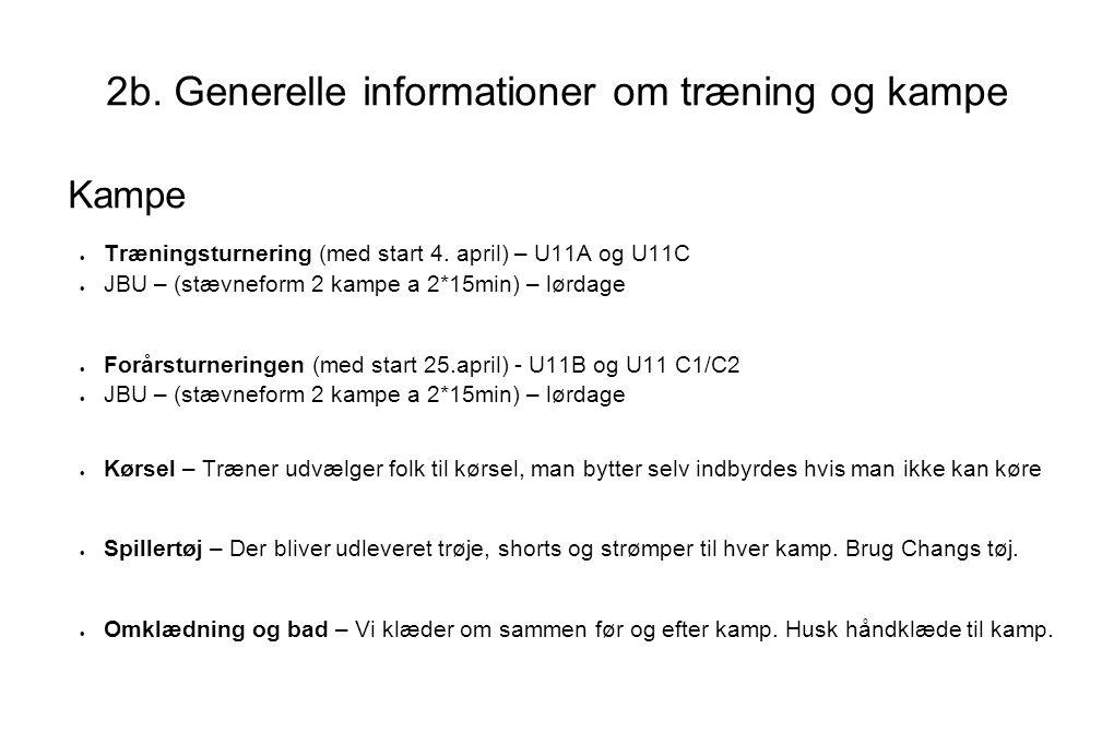 2b. Generelle informationer om træning og kampe Kampe  Træningsturnering (med start 4.