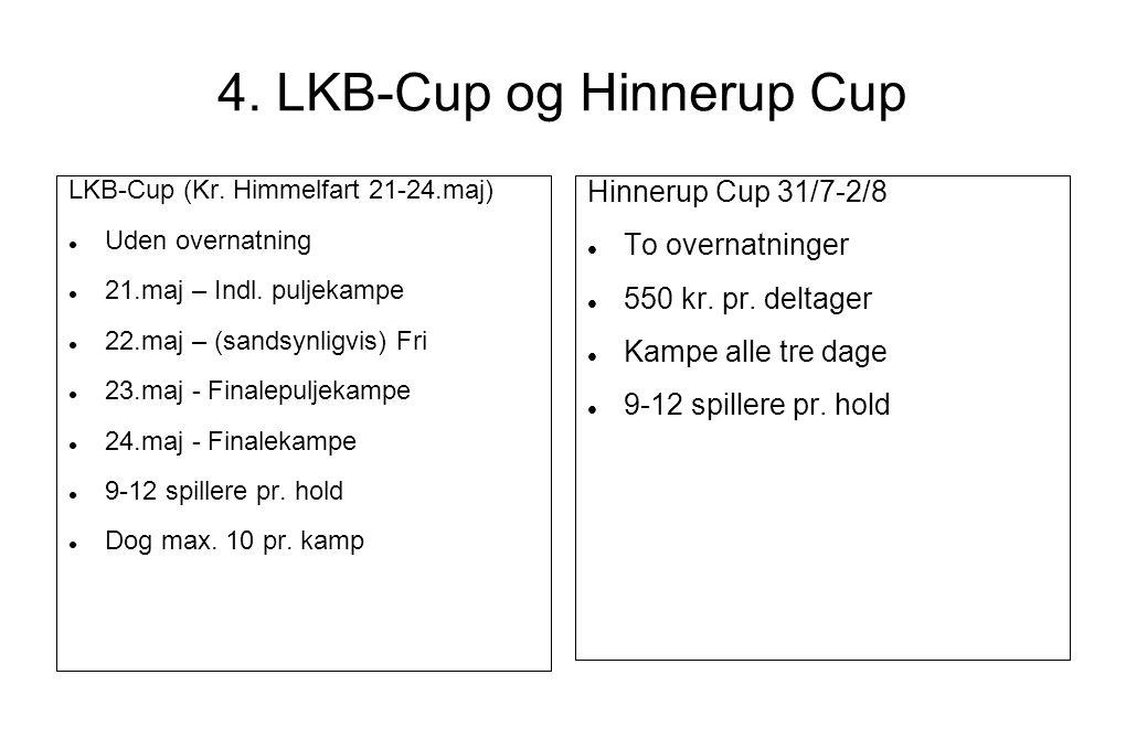 4. LKB-Cup og Hinnerup Cup LKB-Cup (Kr. Himmelfart 21-24.maj)  Uden overnatning  21.maj – Indl.