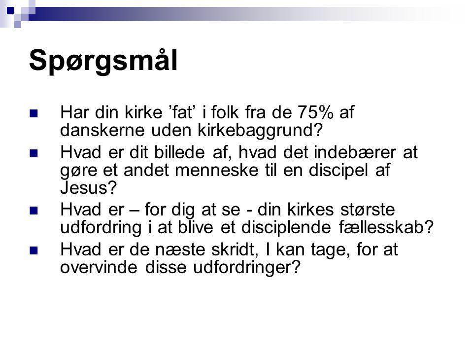 Spørgsmål  Har din kirke 'fat' i folk fra de 75% af danskerne uden kirkebaggrund.