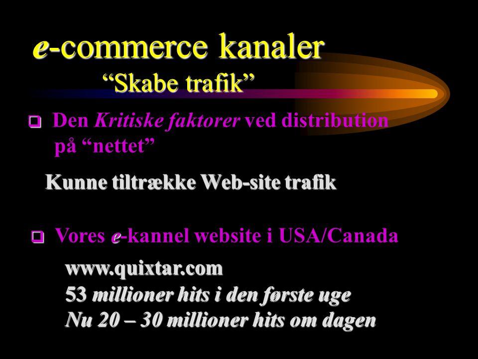 Kunne tiltrække Web-site trafik www.quixtar.com 53 millioner hits i den første uge 53 millioner hits i den første uge Nu 20 – 30 millioner hits om dagen Nu 20 – 30 millioner hits om dagen   Den Kritiske faktorer ved distribution på nettet  e  Vores e-kannel website i USA/Canada e-commerce kanaler Skabe trafik
