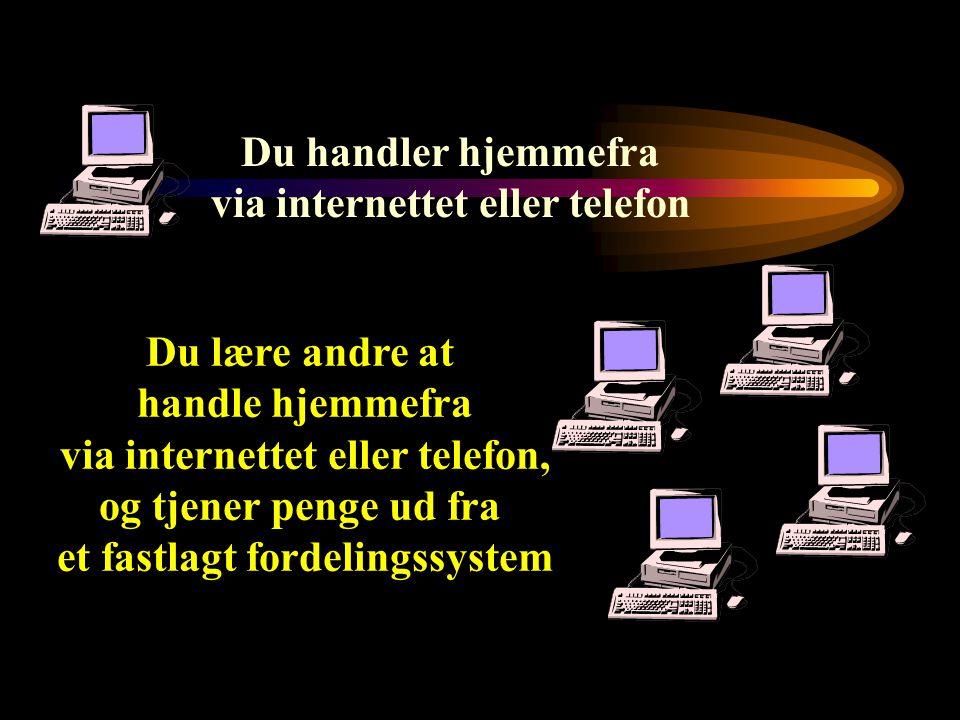 Du handler hjemmefra via internettet eller telefon Du lære andre at handle hjemmefra via internettet eller telefon, og tjener penge ud fra et fastlagt fordelingssystem