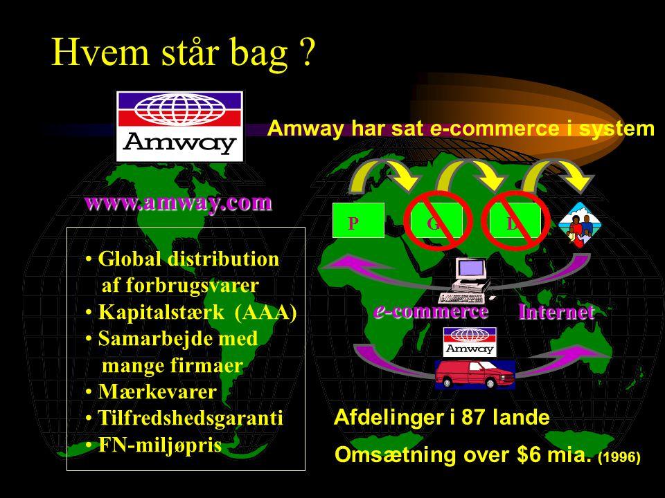 • Global distribution af forbrugsvarer • Kapitalstærk (AAA) • Samarbejde med mange firmaer • Mærkevarer • Tilfredshedsgaranti • FN-miljøpris www.amway.com P GD Afdelinger i 87 lande Omsætning over $6 mia.