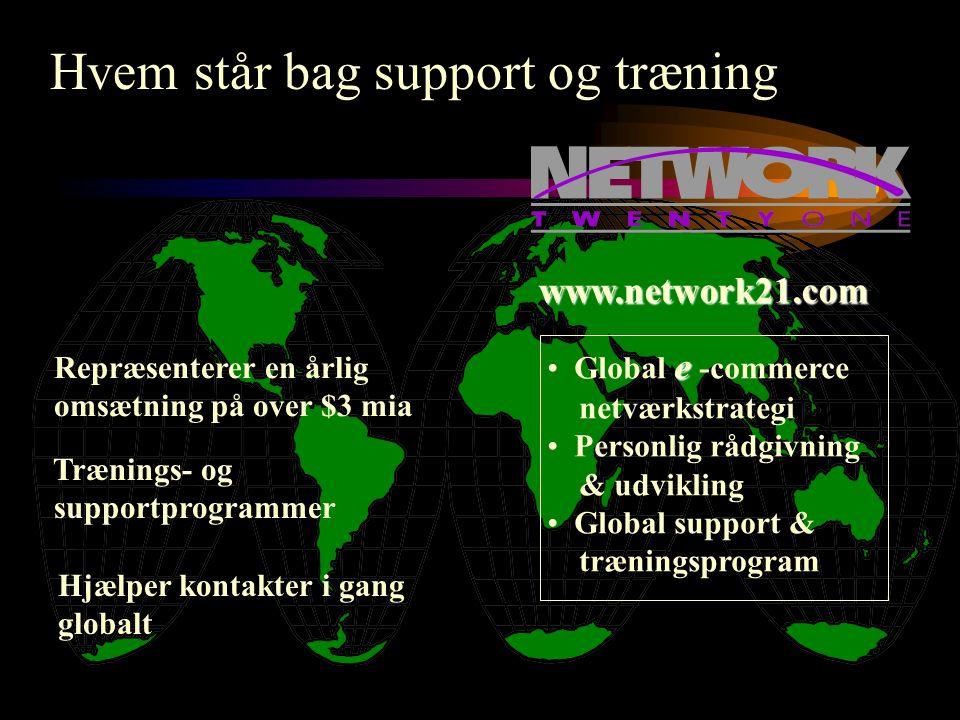 Repræsenterer en årlig omsætning på over $3 mia Trænings- og supportprogrammer www.network21.com e • Global e -commerce netværkstrategi • Personlig rådgivning & udvikling • Global support & træningsprogram Hvem står bag support og træning Hjælper kontakter i gang globalt