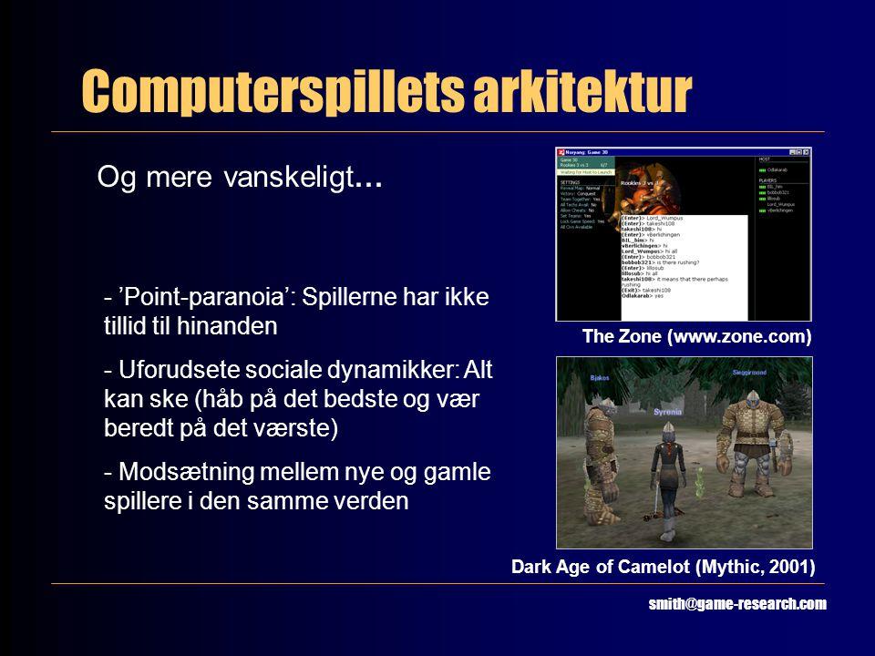Computerspillets arkitektur smith@game-research.com Og mere vanskeligt… The Zone (www.zone.com) Dark Age of Camelot (Mythic, 2001) - 'Point-paranoia': Spillerne har ikke tillid til hinanden - Uforudsete sociale dynamikker: Alt kan ske (håb på det bedste og vær beredt på det værste) - Modsætning mellem nye og gamle spillere i den samme verden