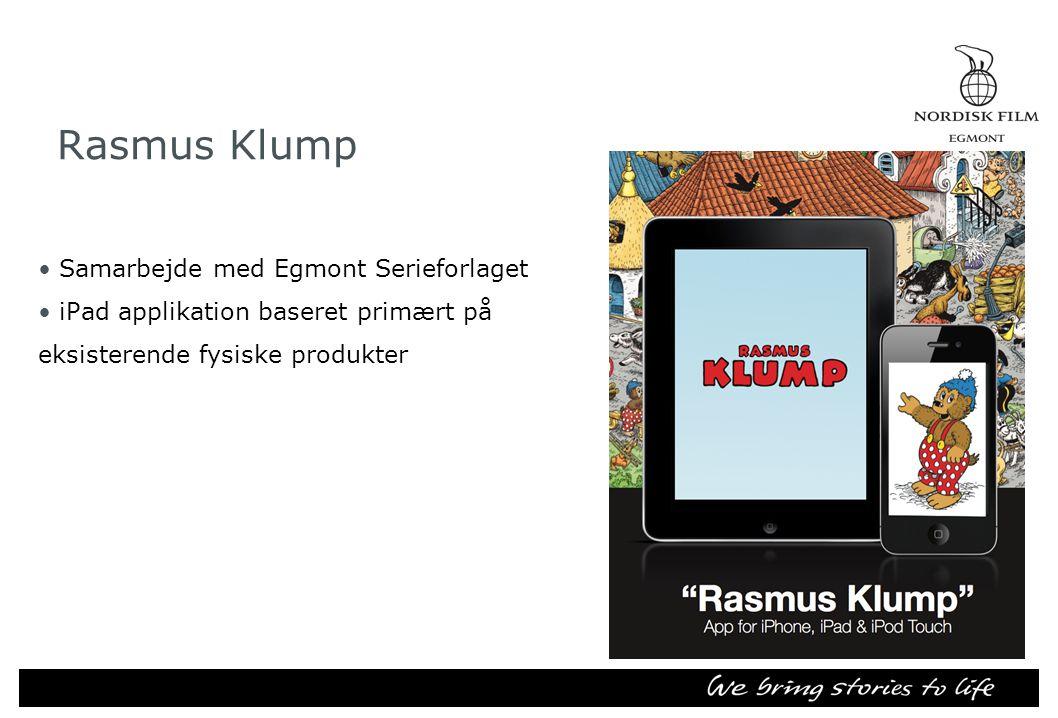 Rasmus Klump •Samarbejde med Egmont Serieforlaget •iPad applikation baseret primært på eksisterende fysiske produkter