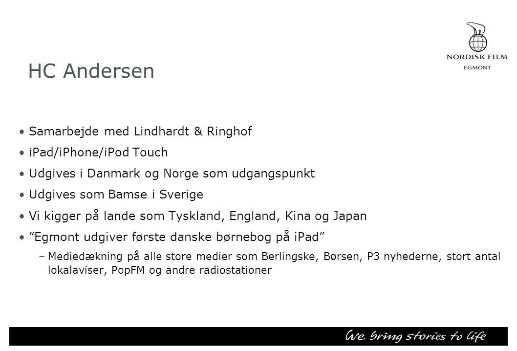 HC Andersen •Samarbejde med Lindhardt & Ringhof •iPad/iPhone/iPod Touch •Udgives i Danmark og Norge som udgangspunkt •Udgives som Bamse i Sverige •Vi kigger på lande som Tyskland, England, Kina og Japan • Egmont udgiver første danske børnebog på iPad –Mediedækning på alle store medier som Berlingske, Børsen, P3 nyhederne, stort antal lokalaviser, PopFM og andre radiostationer