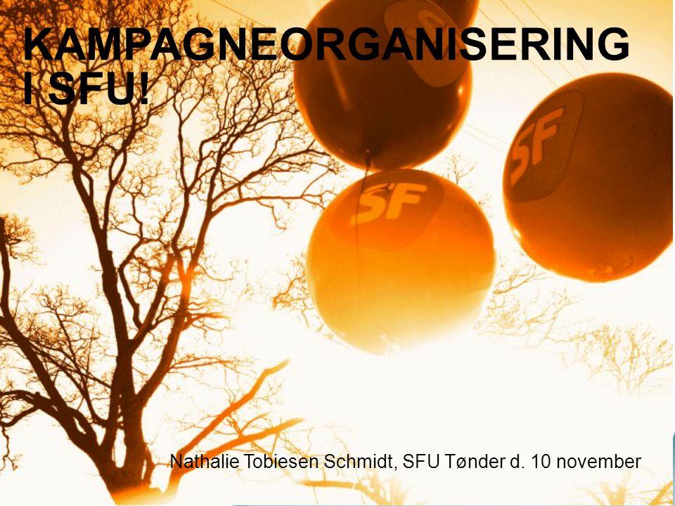 KAMPAGNEORGANISERING I SFU! Nathalie Tobiesen Schmidt, SFU Tønder d. 10 november