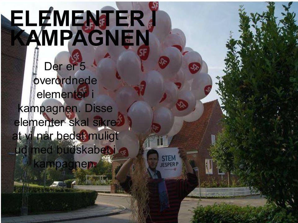 Der er 5 overordnede elementer i kampagnen.