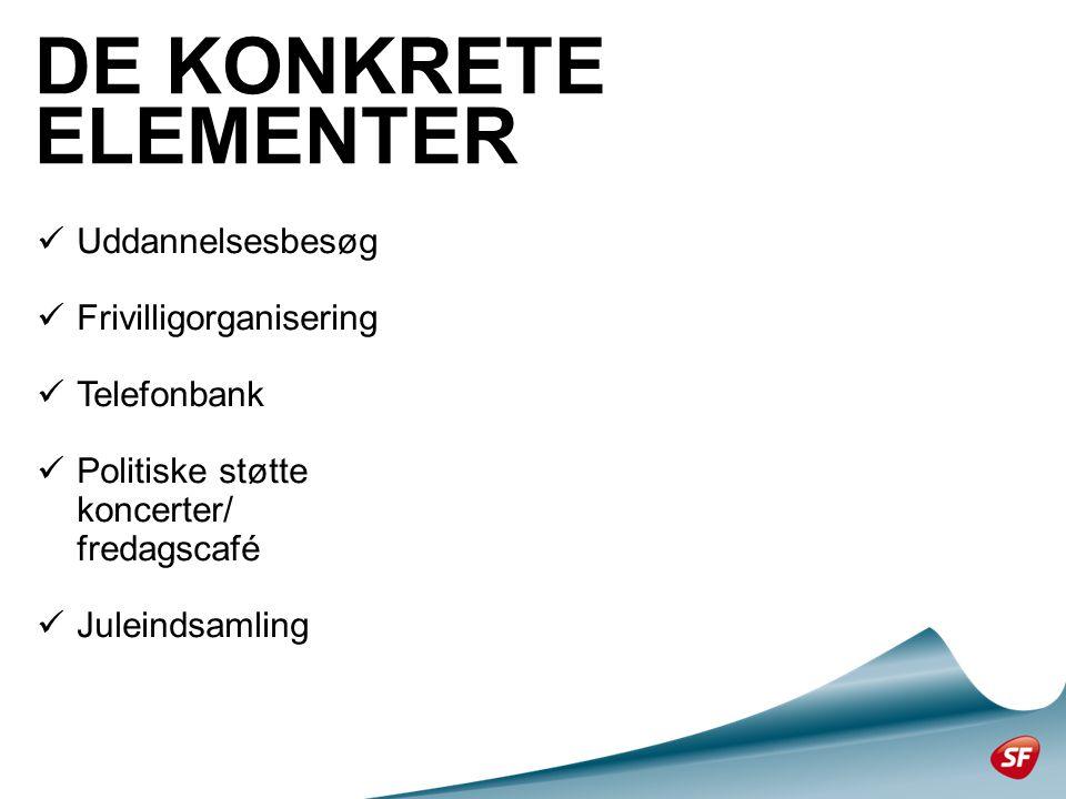  Uddannelsesbesøg  Frivilligorganisering  Telefonbank  Politiske støtte koncerter/ fredagscafé  Juleindsamling DE KONKRETE ELEMENTER