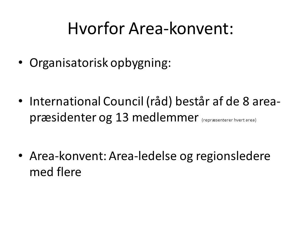 Hvorfor Area-konvent: • Organisatorisk opbygning: • International Council (råd) består af de 8 area- præsidenter og 13 medlemmer (repræsenterer hvert area) • Area-konvent: Area-ledelse og regionsledere med flere