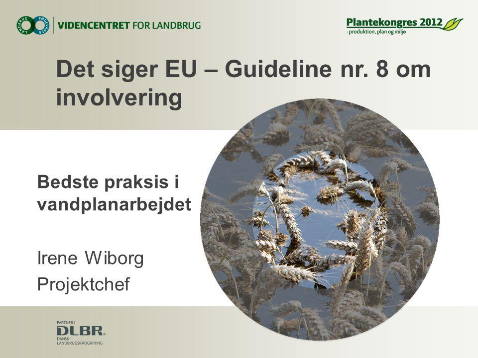 Bedste praksis i vandplanarbejdet Irene Wiborg Projektchef Det siger EU – Guideline nr.