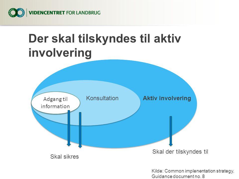 Der skal tilskyndes til aktiv involvering Adgang til information KonsultationAktiv involvering Skal sikres Skal der tilskyndes til Kilde: Common implenentation strategy, Guidance document no.
