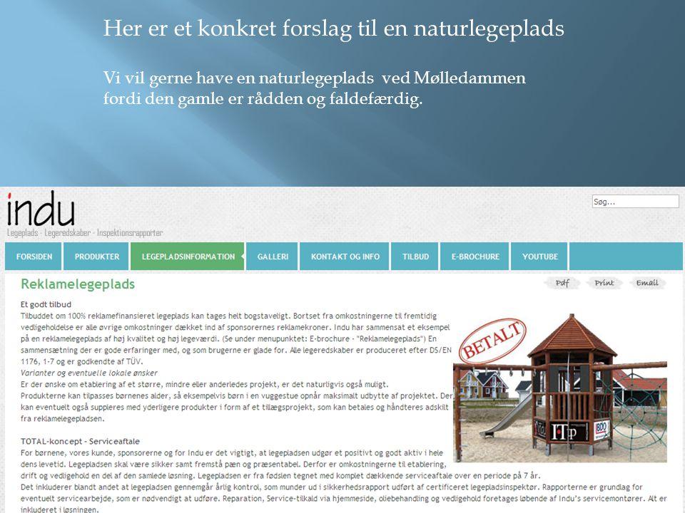 Her er et konkret forslag til en naturlegeplads Vi vil gerne have en naturlegeplads ved Mølledammen fordi den gamle er rådden og faldefærdig.