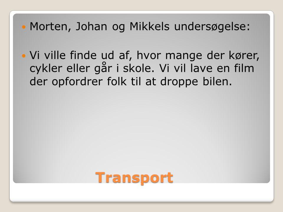 Transport Transport  Morten, Johan og Mikkels undersøgelse:  Vi ville finde ud af, hvor mange der kører, cykler eller går i skole.