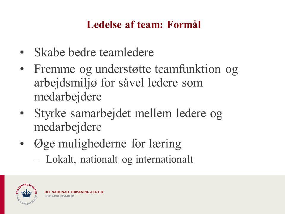 Ledelse af team: Formål •Skabe bedre teamledere •Fremme og understøtte teamfunktion og arbejdsmiljø for såvel ledere som medarbejdere •Styrke samarbejdet mellem ledere og medarbejdere •Øge mulighederne for læring –Lokalt, nationalt og internationalt
