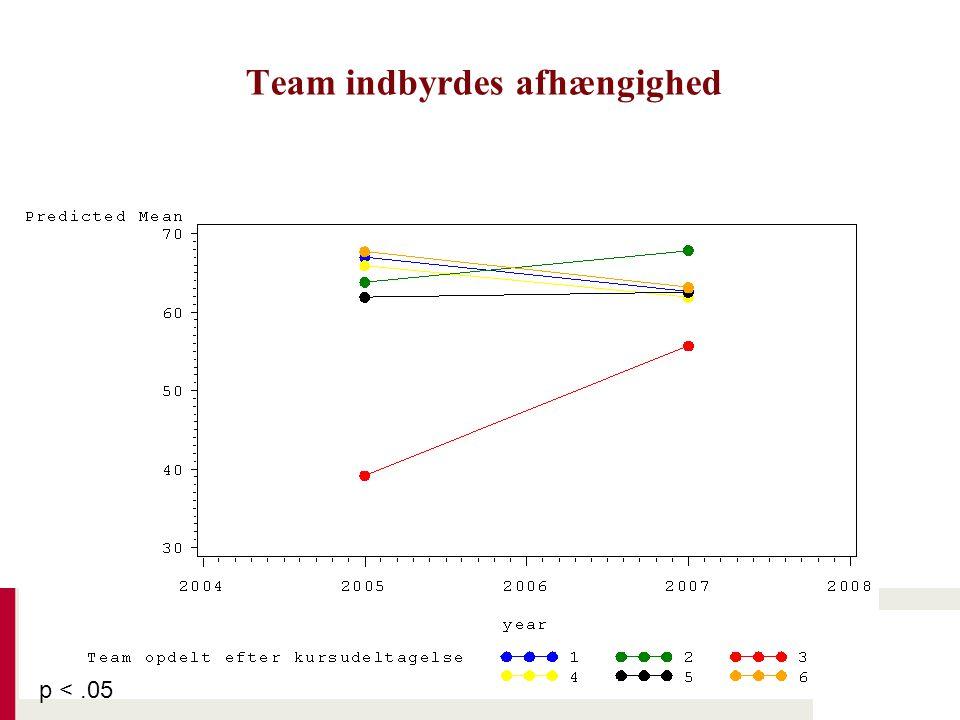 Team indbyrdes afhængighed p <.05