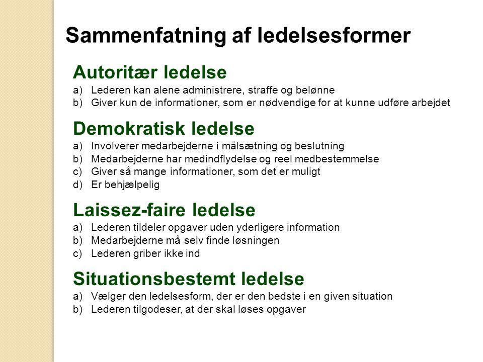 Sammenfatning af ledelsesformer Autoritær ledelse a)Lederen kan alene administrere, straffe og belønne b)Giver kun de informationer, som er nødvendige