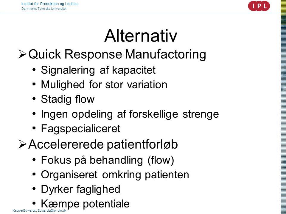 Institut for Produktion og Ledelse Danmarks Tekniske Universitet KasperEdwards, Edwards@ipl.dtu.dk Alternativ  Quick Response Manufactoring • Signale
