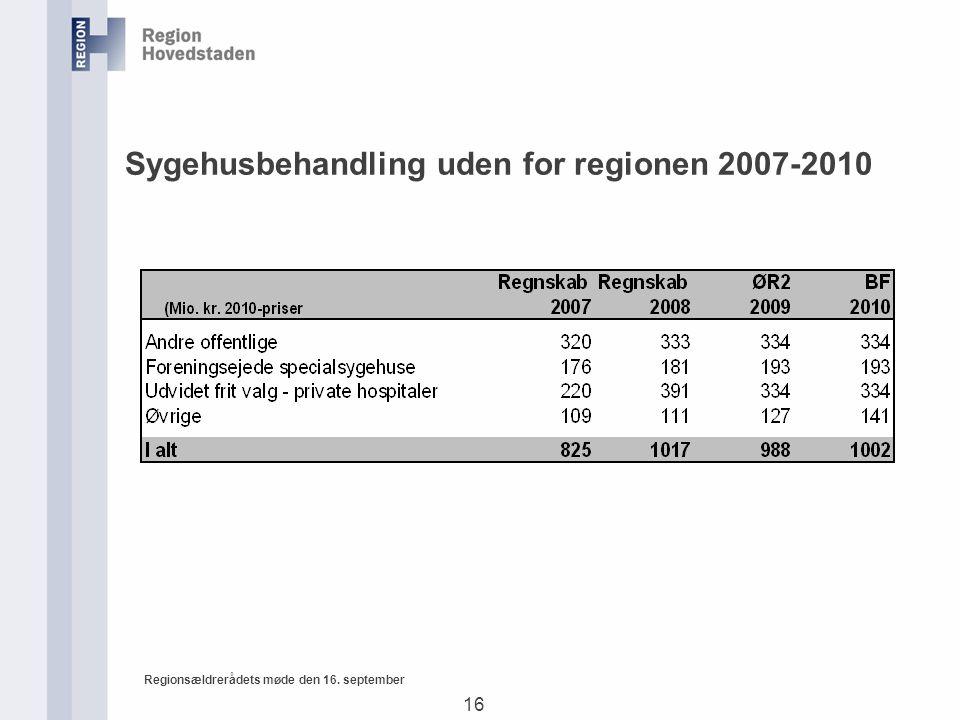 16 Regionsældrerådets møde den 16. september Sygehusbehandling uden for regionen 2007-2010