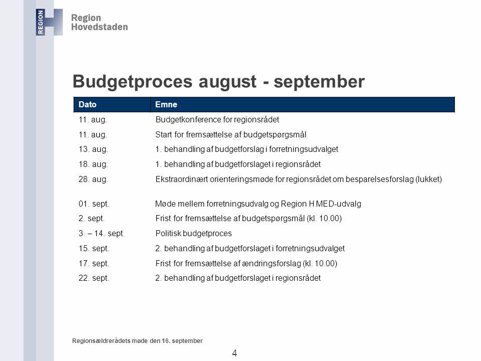 4 Regionsældrerådets møde den 16. september Budgetproces august - september DatoEmne 11.