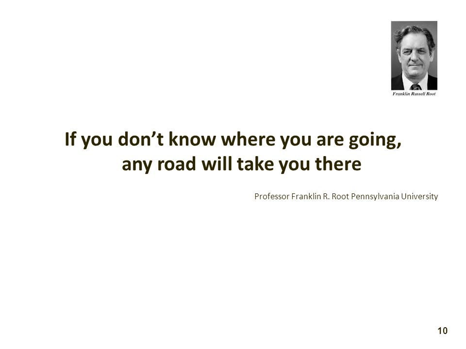 If you don't know where you are going, any road will take you there Professor Franklin R.
