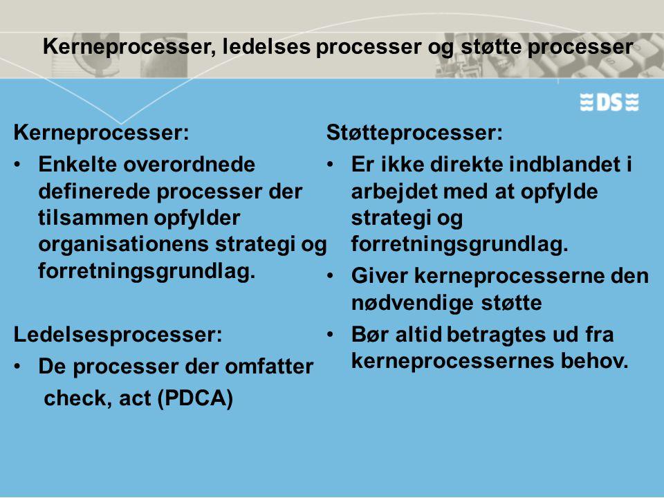 Kerneprocesser, ledelses processer og støtte processer Kerneprocesser: •Enkelte overordnede definerede processer der tilsammen opfylder organisationen
