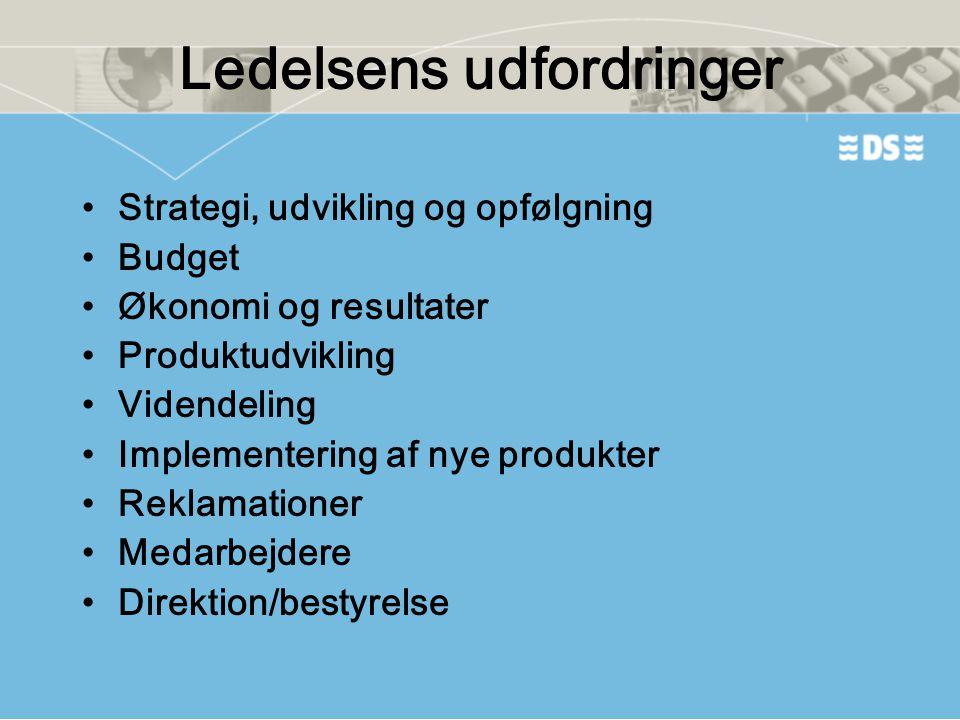 Ledelsens udfordringer •Strategi, udvikling og opfølgning •Budget •Økonomi og resultater •Produktudvikling •Videndeling •Implementering af nye produkt
