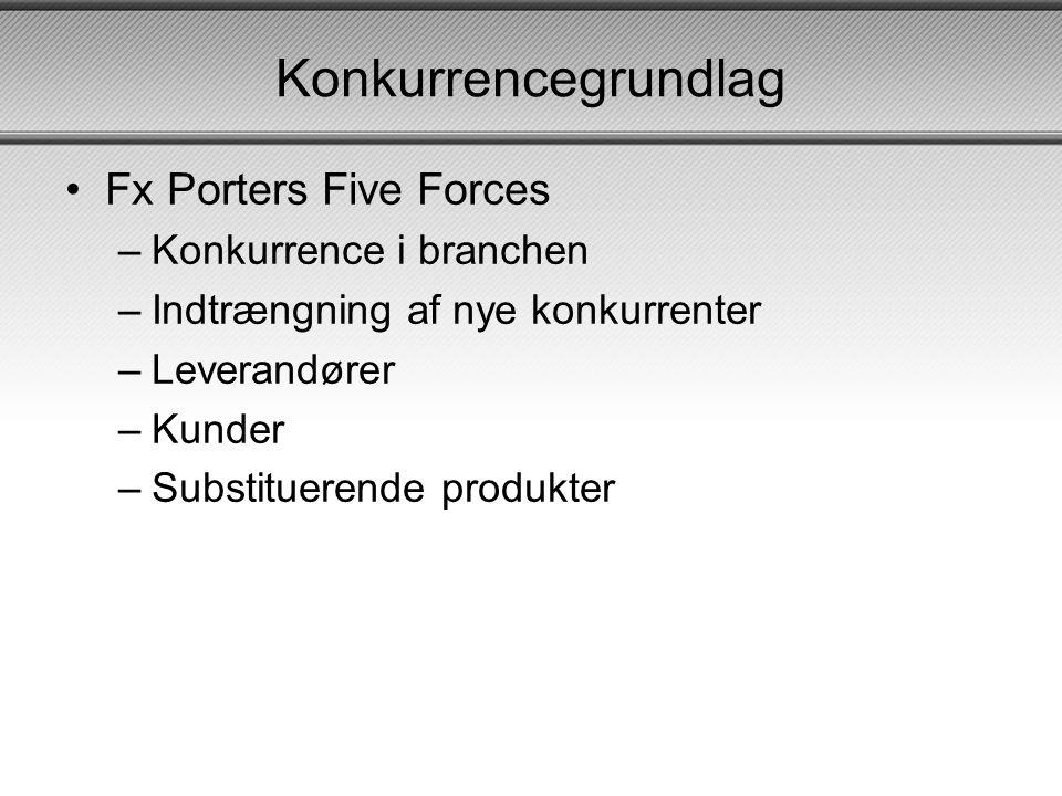 Konkurrencegrundlag •Fx Porters Five Forces –Konkurrence i branchen –Indtrængning af nye konkurrenter –Leverandører –Kunder –Substituerende produkter