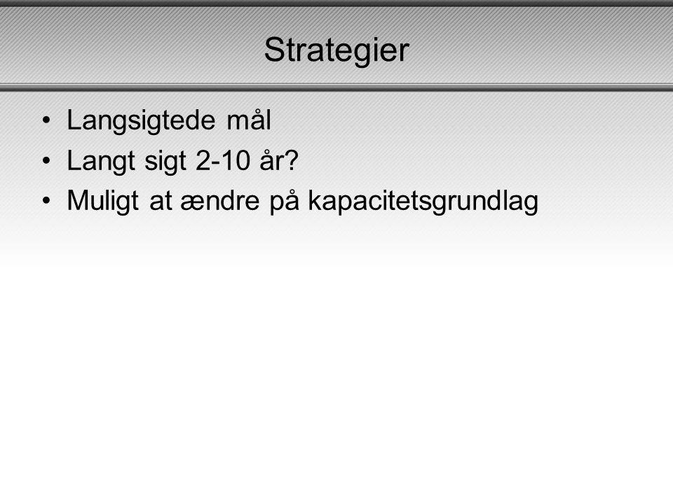 Strategier •Langsigtede mål •Langt sigt 2-10 år? •Muligt at ændre på kapacitetsgrundlag